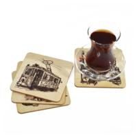 Purupa İstanbul Nostaljik 4'Lü Bardak Altlığı