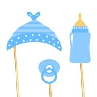 Diş Buğdayı Konuşma Balonu Parti Çubukları - Mavi
