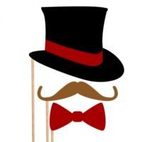 Şapka Bıyık Papyon Konuşma Balonu Parti Çubukları Seti