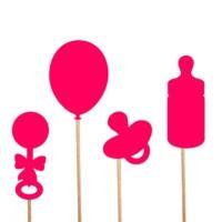 Baby Shower Konuşma Balonu Parti Çubukları - Pembe