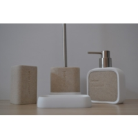 Giz Home Divone Banyo Seti - Beyaz/Bej