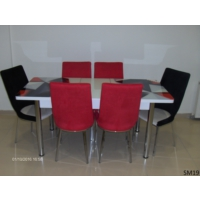 Teknoset Mutfak Masa Takımı Sm19Kırmızı-Siyah