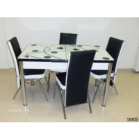 Teknoset Mutfak Masa Takımı Sm09Siyah-Beyaz