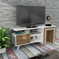 Dekorister Nature Zigon Sehpalı Tv Ünitesi Beyaz-Ceviz