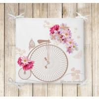 RealHomes Bisiklet Desenli Dekoratif Kare Sandalye Minderi