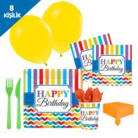KullanAtMarket Neşeli Doğumgünü Parti Seti 8 Kişilik - 93 Adet