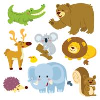 Sevimli Hayvanlar Alemi SHA02 Duvar Sticker 100 x 100 cm