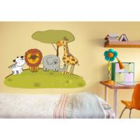 Şirin Hayvanlar Parkta Duvar Sticker 168 x 120 cm
