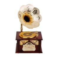 Pratik Gramofon Müzik Kutusu Kahverengi