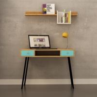 FLY Mavi Boyalı İki Çekmeceli Metal Ayaklı (Boru Profil) Safir Meşe Çalışma Masası+Duvar Rafı - FLY171010