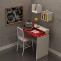 FLY Üst Raflı Kalemlikli Kırmızı Tablalı Çalışma Masası FLY172008