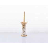 Porio Ahd-1133 - Beyaz-Altın Kelebekli Mumluk Uzun 28 x 14