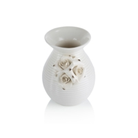 Porio M66-202 - Çiçekli Beyaz Vazo 16 Cm