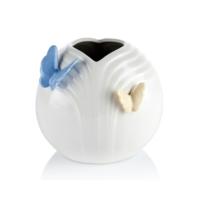 Porio M66-102 - Kelebekli Beyaz Vazo 12 Cm