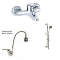 Erce Mix Spiralli Evye Ve Banyo Bataryası + Sürgülü Duş Takımı