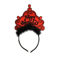Partistok Tüylü Happy Birthday Taç Kırmızı