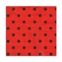Partistok Siyah Puanlı Kırmızı Peçete 20 Adet