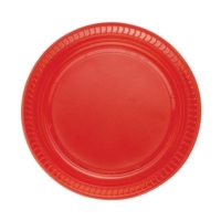 Partistok Kırmızı Plastik Parti Tabağı 22 Cm 25 Adet