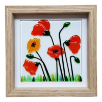 Cool Glass Design Kırmızı ve Turuncu Gelincikler Cam Duvar Süsü 25 x 25 cm El Yapımı