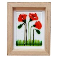 Cool Glass Design Kırmızı Gelincikler Cam Duvar Süsü 16 x 20 cm El Yapımı