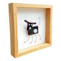 Cool Glass Design Siyah Sevimli Köpek Cam Duvar Süsü 25 x 25 cm El Yapımı
