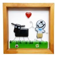 Cool Glass Design Sevimli Köpek ve Çocuk Cam Duvar Süsü 25 x 25 cm El Yapımı