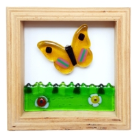 Cool Glass Design Kelebek Cam Duvar Süsü 16 x 16 cm El Yapımı