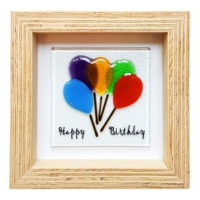 Cool Glass Design Happy Birthday Cam Duvar Süsü 16 x 16 cm El Yapımı
