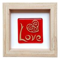 Cool Glass Design Love Kırmızı Cam Duvar Süsü 16 x 16 cm El Yapımı