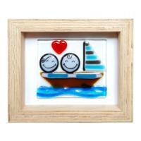 Cool Glass Design Yelkenlide Aşk Cam Duvar Süsü 16 x 20 cm El Yapımı
