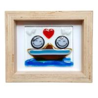 Cool Glass Design Kayıkta Aşk Cam Duvar Süsü 16 x 20 cm El Yapımı