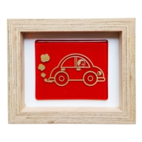 Cool Glass Design Kırmızı Vosvos Dumanlı Cam Duvar Süsü 16 x 20 cm El Yapımı