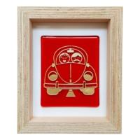 Cool Glass Design Kırmızı Vosvos Cam Duvar Süsü 16 x 20 cm El Yapımı