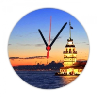 Fotografyabaskı Kız Kulesi İstanbul 20 Cm Yuvarlak Hdf Saat Baskı