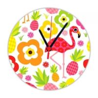 Fotografyabaskı Flamingo 20 Cm Yuvarlak Hdf Saat Baskı