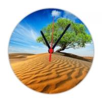 Fotografyabaskı Çölde Ağaç 20 Cm Yuvarlak Hdf Saat Baskı