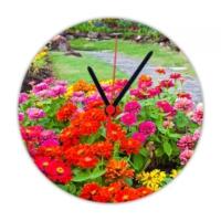 Fotografyabaskı Bahçede Renkli Çiçekler 20 Cm Yuvarlak Hdf Duvar Masa Saati