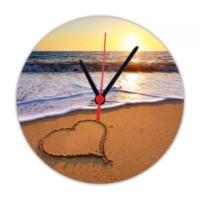 Fotografyabaskı Kumsalda Kalp 20 Cm Yuvarlak Hdf Saat Baskı