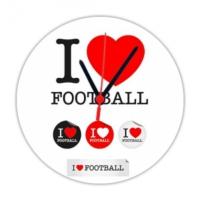 Fotografyabaskı Futbolu Seviyorum 20 Cm Yuvarlak Hdf Duvar Masa Saati