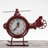 Vintage Metal Masaüstü Saat \ Helikopter Görünümlü - Kırmızı 23X7X18 LN957-2