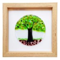 Cool Glass Design Yeşil Hayat Ağacı Cam Duvar Süsü 25 X 25 Cm El Yapımı