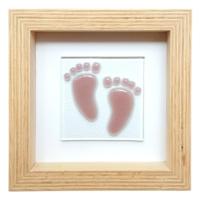 Cool Glass Design Pembe Adımlar Bebek Ayağı Cam Duvar Süsü 16 X 16 Cm El Yapımı