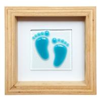 Cool Glass Design Mavi Adımlar Bebek Ayağı Cam Duvar Süsü 16 X 16 Cm El Yapımı