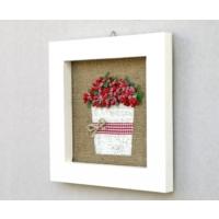Luckywoodstore Çerçeve -Kırmızı Çiçekli
