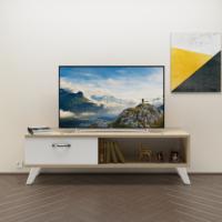 Eyibil Mobilya Kuzey 120 cm Tv Sehpası Tv Ünitesi Gövde Meşe Kapak Beyaz