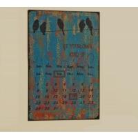 Angels İn Town Kuş Desenli Metal Pano Takvim (Mavi) - 28X35 Cm