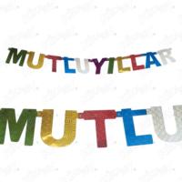 Kikajoy Renkli Hologramlı Mutlu Yıllar Yazılı Asma Banner - adet