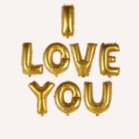 """Kikajoy I Love You Yazılı Harf Folyo Balon 16"""" Altın Renk"""