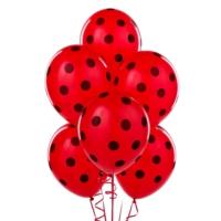 Kikajoy Çepeçevre Puantiye Baskılı Kırmızı Siyah Balon