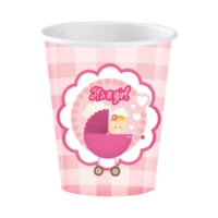 Kikajoy Roll-Up Karton Kız Bebek Baby Shower Bardak
